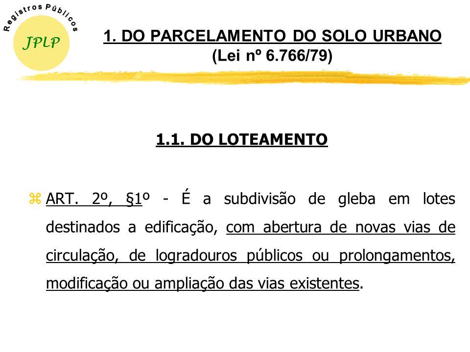 DO PARCELAMENTO DO SOLO Formas Regulares zLOTEAMENTO - Lei nº 6.766/79, alterada pela Lei nº 9.785/99 e Provimento nº 1/98-CGJ/RS (Consolidação Normat
