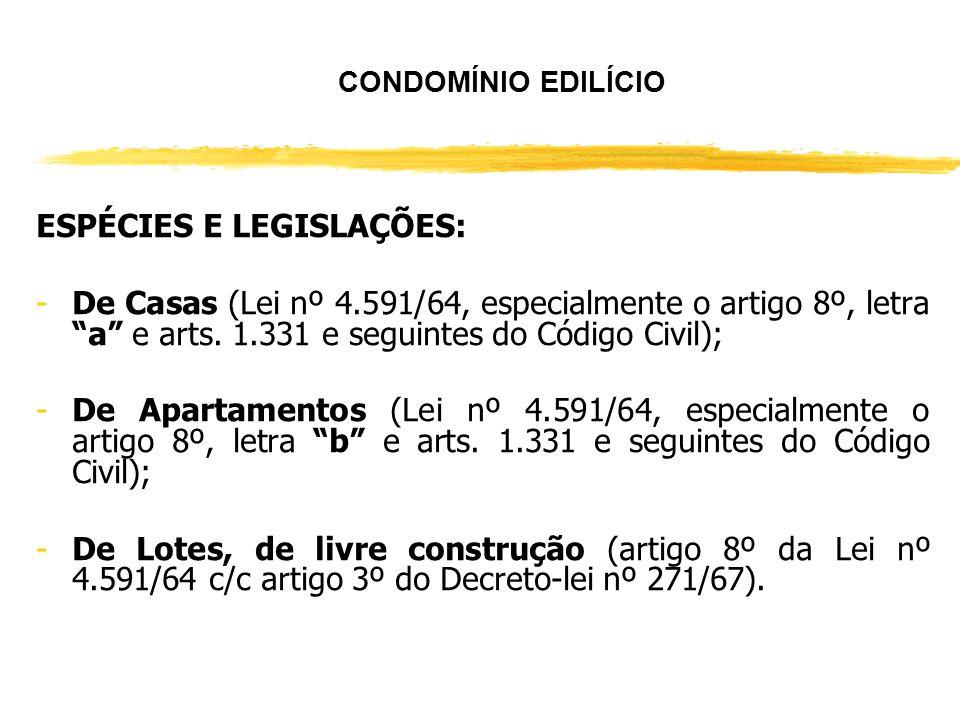 CONDOMÍNIO GERAL LEGISLAÇÃO: Artigos 1.314 e seguintes do Código Civil (mais de um proprietário de uma mesma coisa).