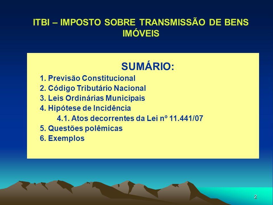 3 O ITBI NA CONSTITUIÇÃO FEDERAL CF/88 – Art.