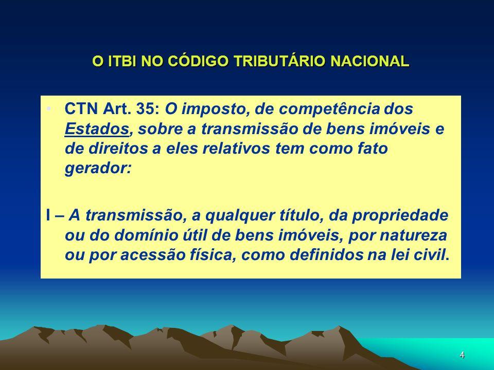 4 O ITBI NO CÓDIGO TRIBUTÁRIO NACIONAL CTN Art. 35: O imposto, de competência dos Estados, sobre a transmissão de bens imóveis e de direitos a eles re