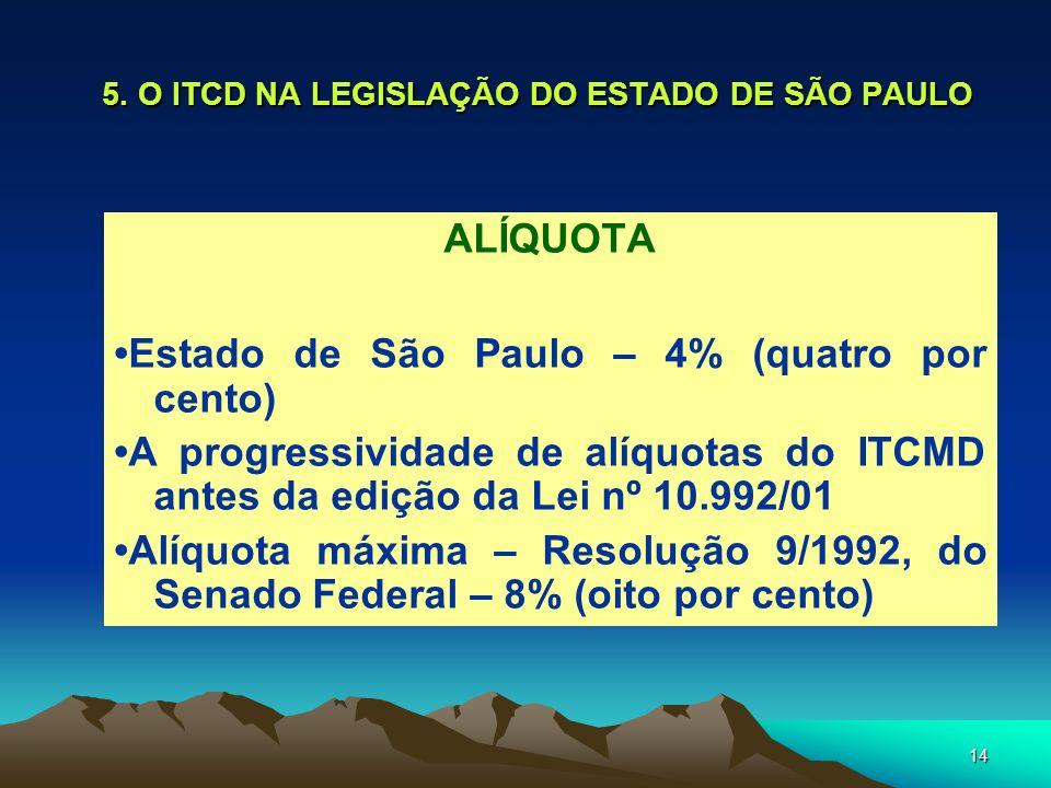 14 5. O ITCD NA LEGISLAÇÃO DO ESTADO DE SÃO PAULO ALÍQUOTA Estado de São Paulo – 4% (quatro por cento) A progressividade de alíquotas do ITCMD antes d