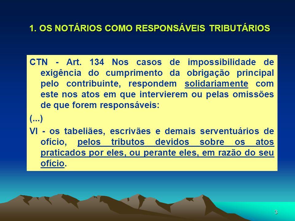 3 1. OS NOTÁRIOS COMO RESPONSÁVEIS TRIBUTÁRIOS CTN - Art. 134 Nos casos de impossibilidade de exigência do cumprimento da obrigação principal pelo con