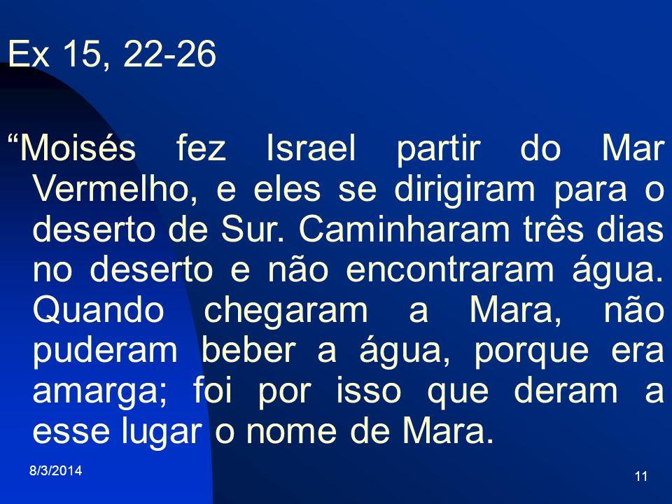 8/3/2014 11 Ex 15, 22-26 Moisés fez Israel partir do Mar Vermelho, e eles se dirigiram para o deserto de Sur. Caminharam três dias no deserto e não en