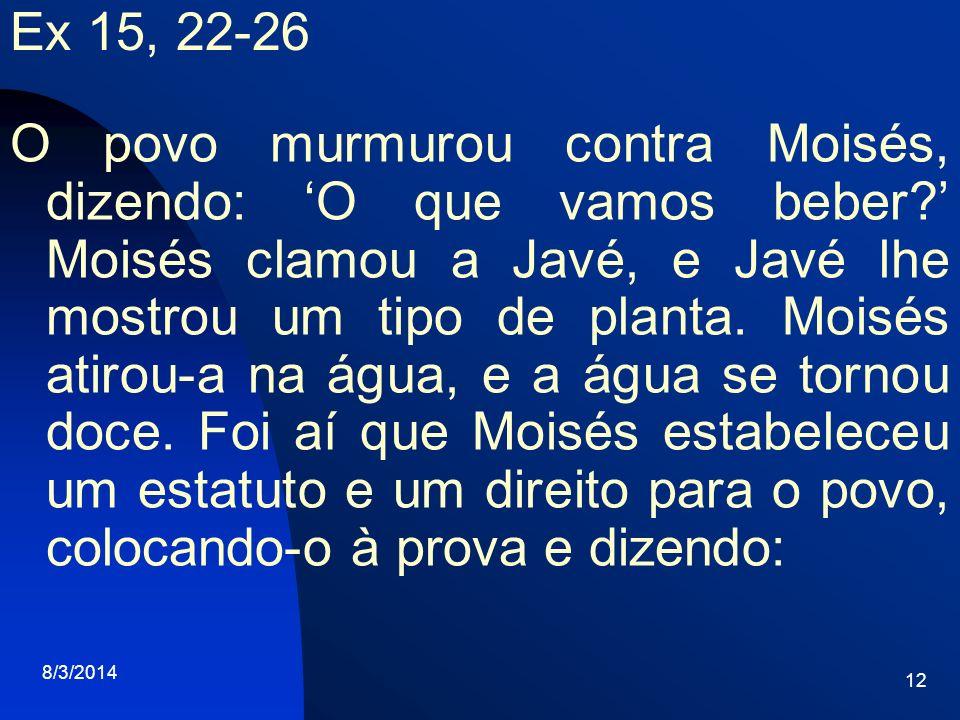 8/3/2014 12 Ex 15, 22-26 O povo murmurou contra Moisés, dizendo: O que vamos beber? Moisés clamou a Javé, e Javé lhe mostrou um tipo de planta. Moisés