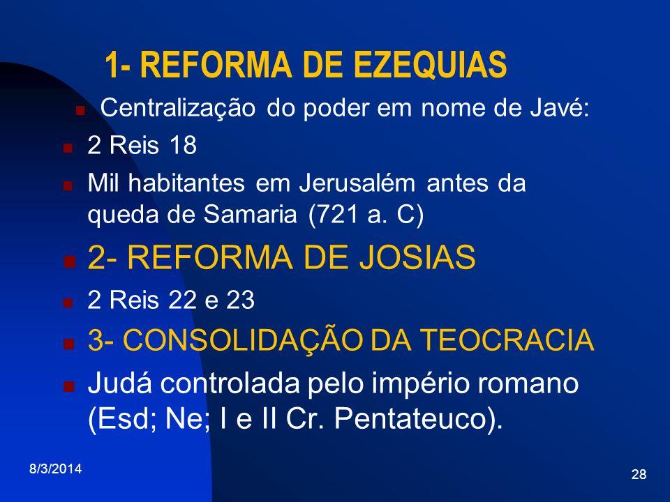 1- REFORMA DE EZEQUIAS Centralização do poder em nome de Javé: 2 Reis 18 Mil habitantes em Jerusalém antes da queda de Samaria (721 a. C) 2- REFORMA D