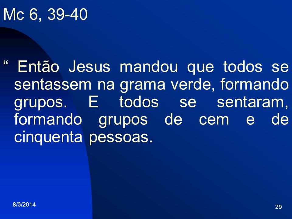 8/3/2014 29 Mc 6, 39-40 Então Jesus mandou que todos se sentassem na grama verde, formando grupos. E todos se sentaram, formando grupos de cem e de ci