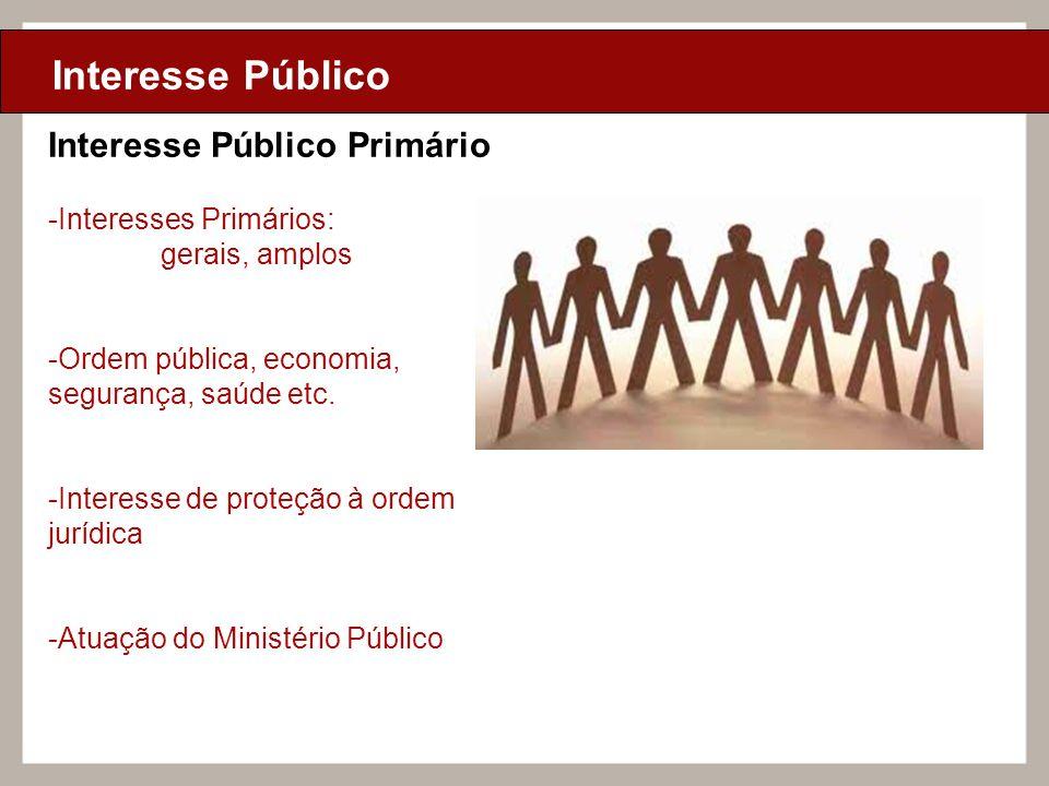 Ciclo de Aulas Internas - 2010 Texto Interesse Público Interesse Público Primário -Interesses Primários: gerais, amplos -Ordem pública, economia, segu