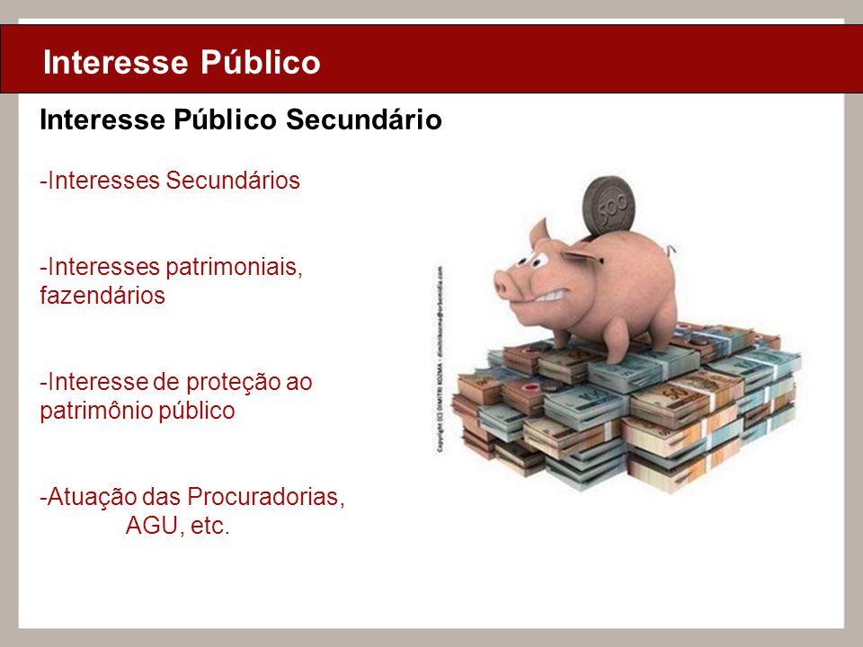 Ciclo de Aulas Internas - 2010 Texto Interesse Público Interesse Público Secundário -Interesses Secundários -Interesses patrimoniais, fazendários -Int