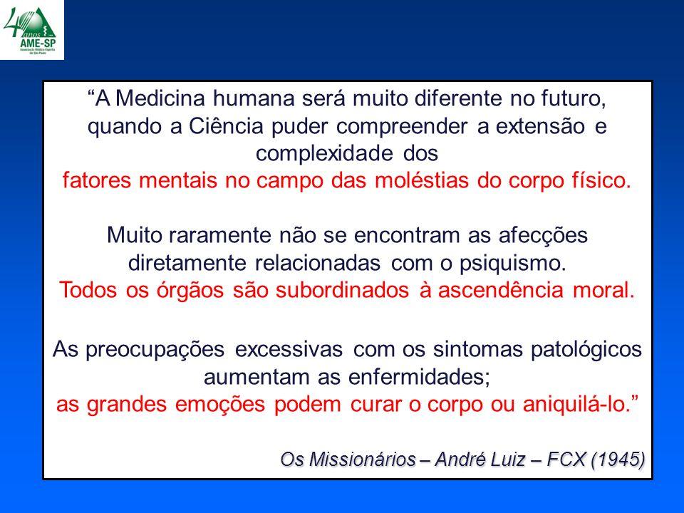 1960 - Cicely Saunders: Cuidados Paliativos 1968 – Fundação da AME-SP (Associação Médico-Espírita de São Paulo) Mind/Body Medical Institute 1970 - Herbert Benson (Harvard) Mind/Body Medical Institute Dec.