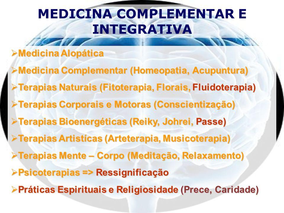 Homeopatia Medicina Chinesa Relação Mente-Corpo Medicina Comportamental Medicina Antroposófica Medicina Bio-Energética MEDICINA COMPLEMENTAR MEDICINA INTEGRATIVA Integração Fé e Razão Integração com Espiritualidade NOVO PARADIGMA PARA O 3º MILÊNIO