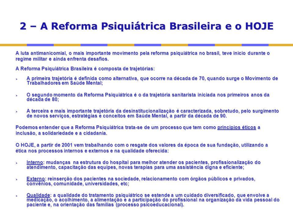 2 – A Reforma Psiquiátrica Brasileira e o HOJE A luta antimanicomial, o mais importante movimento pela reforma psiquiátrica no brasil, teve início durante o regime militar e ainda enfrenta desafios.