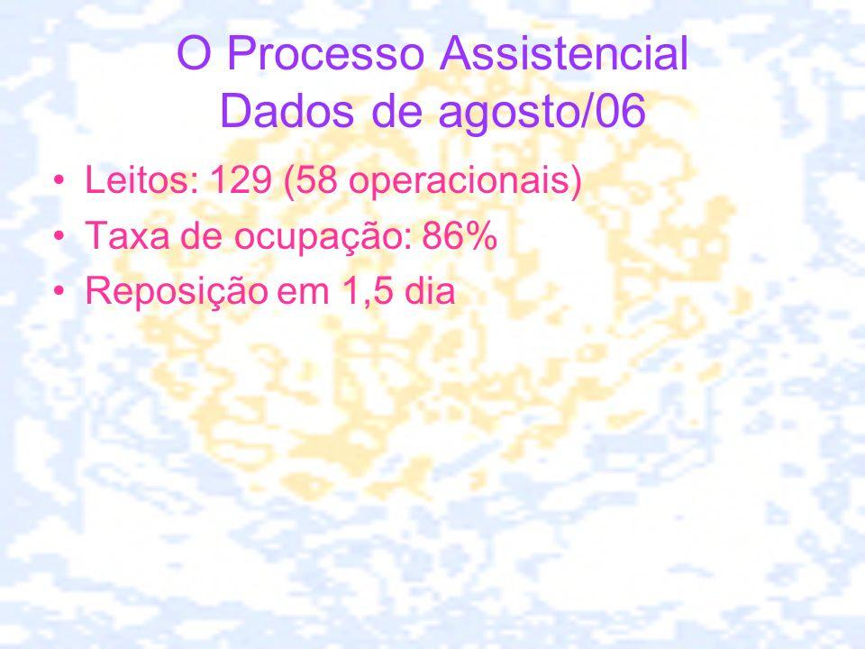 O Processo Assistencial Dados de agosto/06 Leitos: 129 (58 operacionais) Taxa de ocupação: 86% Reposição em 1,5 dia