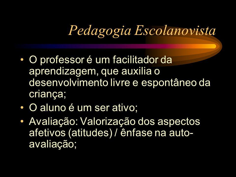 Pedagogia Escolanovista O professor é um facilitador da aprendizagem, que auxilia o desenvolvimento livre e espontâneo da criança; O aluno é um ser at