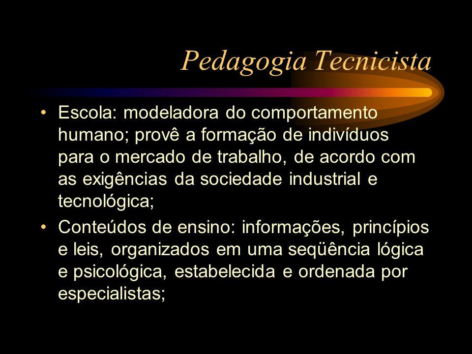 Pedagogia Tecnicista Escola: modeladora do comportamento humano; provê a formação de indivíduos para o mercado de trabalho, de acordo com as exigência