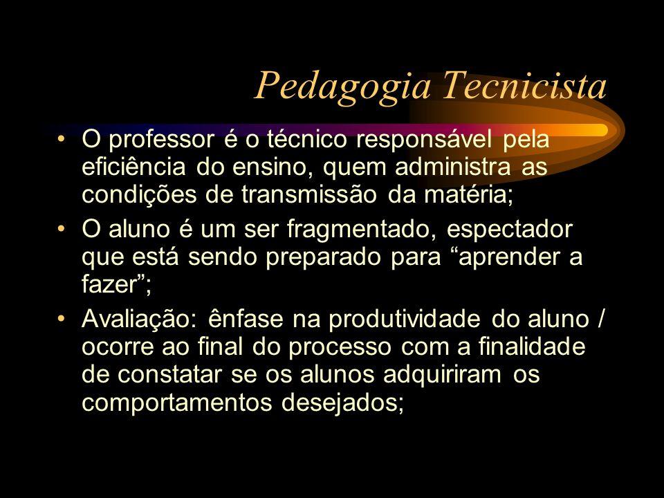 Pedagogia Tecnicista O professor é o técnico responsável pela eficiência do ensino, quem administra as condições de transmissão da matéria; O aluno é