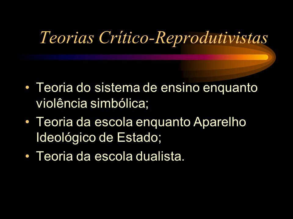 Teorias Crítico-Reprodutivistas Teoria do sistema de ensino enquanto violência simbólica; Teoria da escola enquanto Aparelho Ideológico de Estado; Teo
