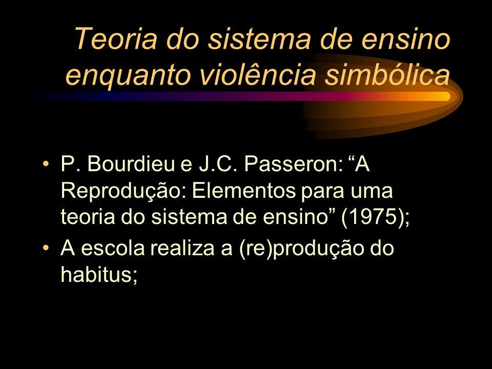 Teoria do sistema de ensino enquanto violência simbólica P. Bourdieu e J.C. Passeron: A Reprodução: Elementos para uma teoria do sistema de ensino (19