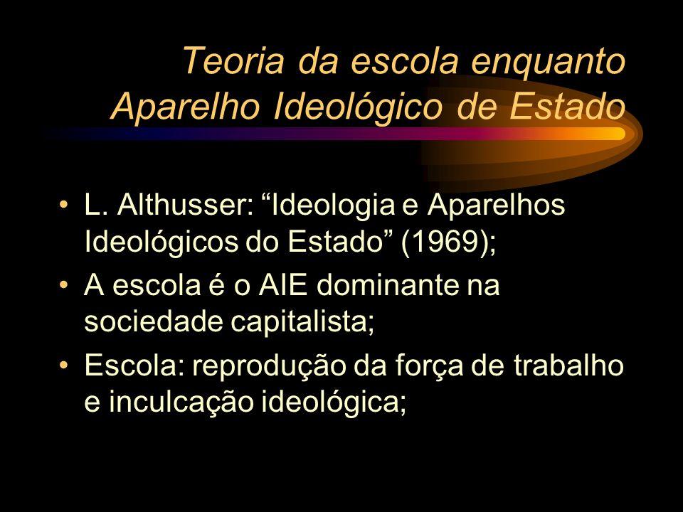 Teoria da escola enquanto Aparelho Ideológico de Estado L. Althusser: Ideologia e Aparelhos Ideológicos do Estado (1969); A escola é o AIE dominante n