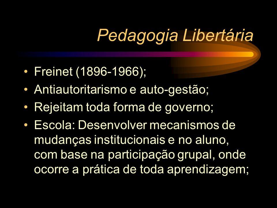 Pedagogia Libertária Freinet (1896-1966); Antiautoritarismo e auto-gestão; Rejeitam toda forma de governo; Escola: Desenvolver mecanismos de mudanças