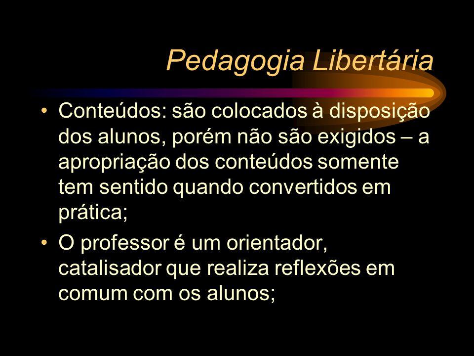 Pedagogia Libertária Conteúdos: são colocados à disposição dos alunos, porém não são exigidos – a apropriação dos conteúdos somente tem sentido quando