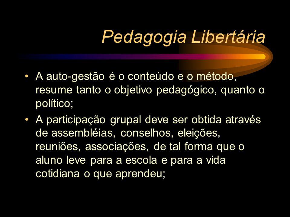 Pedagogia Libertária A auto-gestão é o conteúdo e o método, resume tanto o objetivo pedagógico, quanto o político; A participação grupal deve ser obti