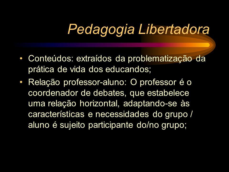 Pedagogia Libertadora Conteúdos: extraídos da problematização da prática de vida dos educandos; Relação professor-aluno: O professor é o coordenador d