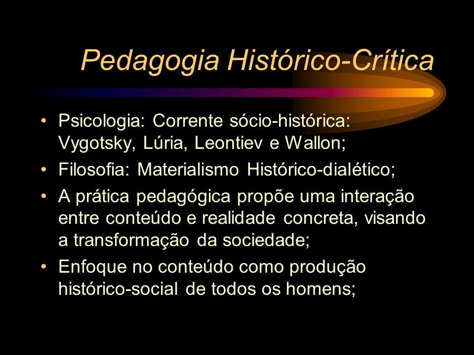 Pedagogia Histórico-Crítica Psicologia: Corrente sócio-histórica: Vygotsky, Lúria, Leontiev e Wallon; Filosofia: Materialismo Histórico-dialético; A p