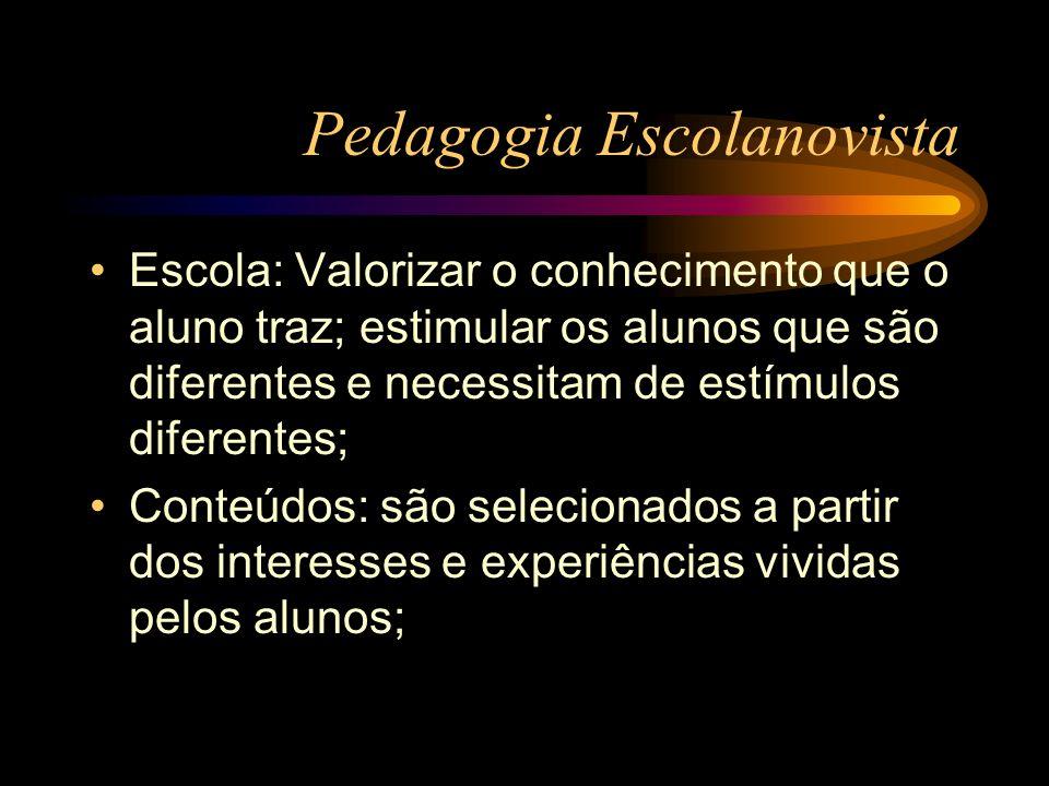 Pedagogia Escolanovista O professor é um facilitador da aprendizagem, que auxilia o desenvolvimento livre e espontâneo da criança; O aluno é um ser ativo; Avaliação: Valorização dos aspectos afetivos (atitudes) / ênfase na auto- avaliação;
