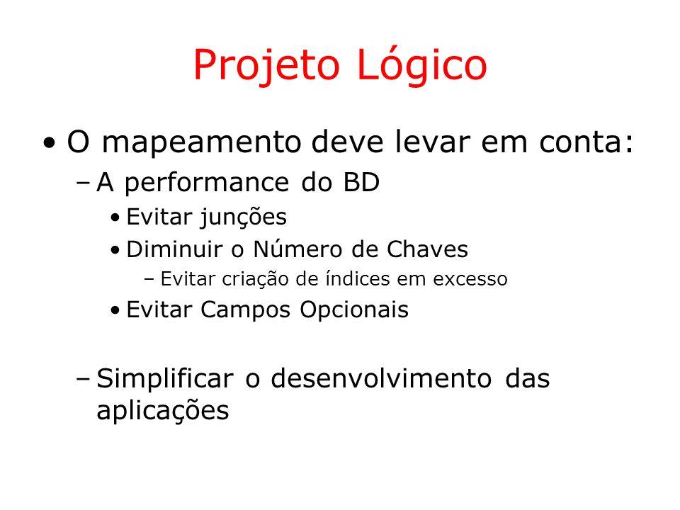Projeto Lógico O mapeamento deve levar em conta: –A performance do BD Evitar junções Diminuir o Número de Chaves –Evitar criação de índices em excesso
