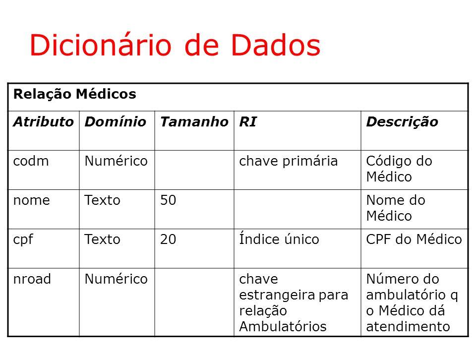 Dicionário de Dados Relação Médicos AtributoDomínioTamanhoRIDescrição codmNuméricochave primáriaCódigo do Médico nomeTexto50Nome do Médico cpfTexto20Í