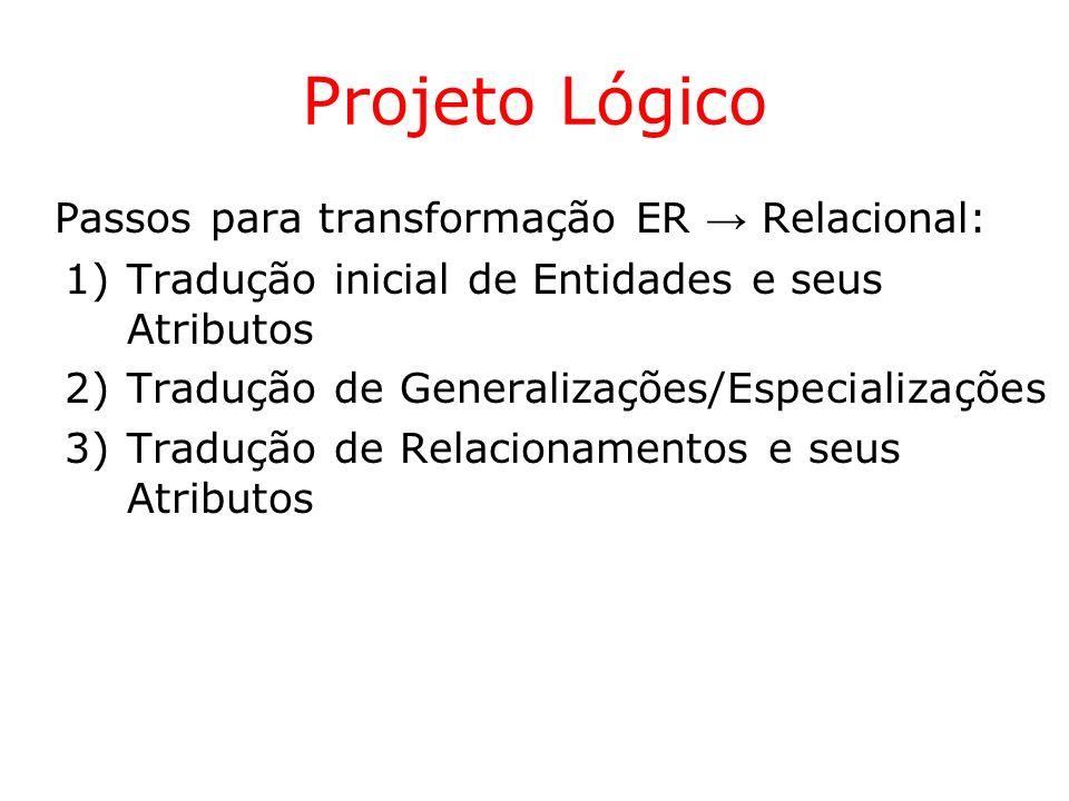 Projeto Lógico Passos para transformação ER Relacional: 1)Tradução inicial de Entidades e seus Atributos 2)Tradução de Generalizações/Especializações