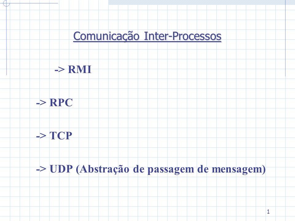 1 Comunicação Inter-Processos -> RMI -> RPC -> TCP -> UDP (Abstração de passagem de mensagem)