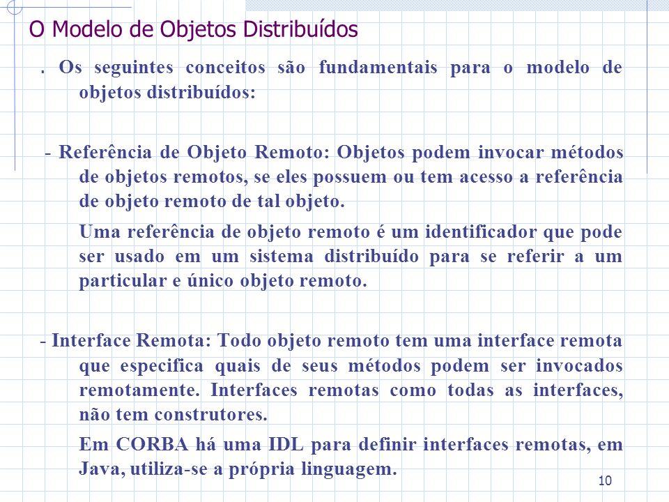 10 O Modelo de Objetos Distribuídos. Os seguintes conceitos são fundamentais para o modelo de objetos distribuídos: - Referência de Objeto Remoto: Obj