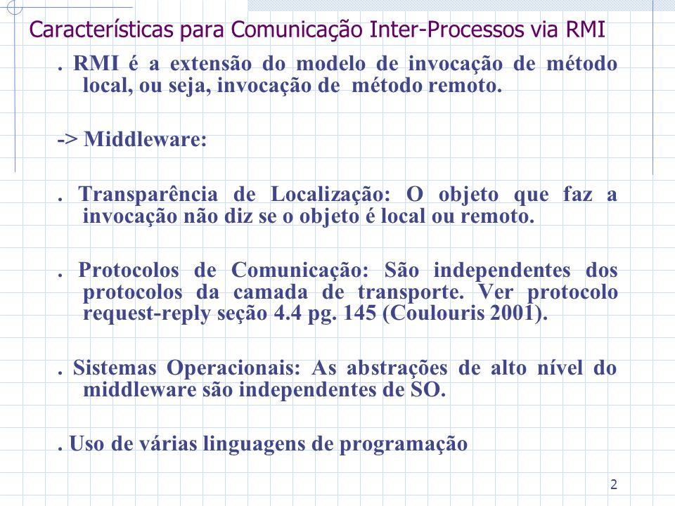 2 Características para Comunicação Inter-Processos via RMI. RMI é a extensão do modelo de invocação de método local, ou seja, invocação de método remo
