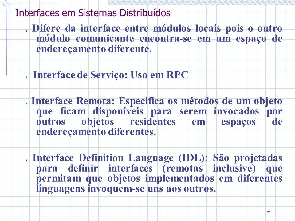 4 Interfaces em Sistemas Distribuídos. Difere da interface entre módulos locais pois o outro módulo comunicante encontra-se em um espaço de endereçame