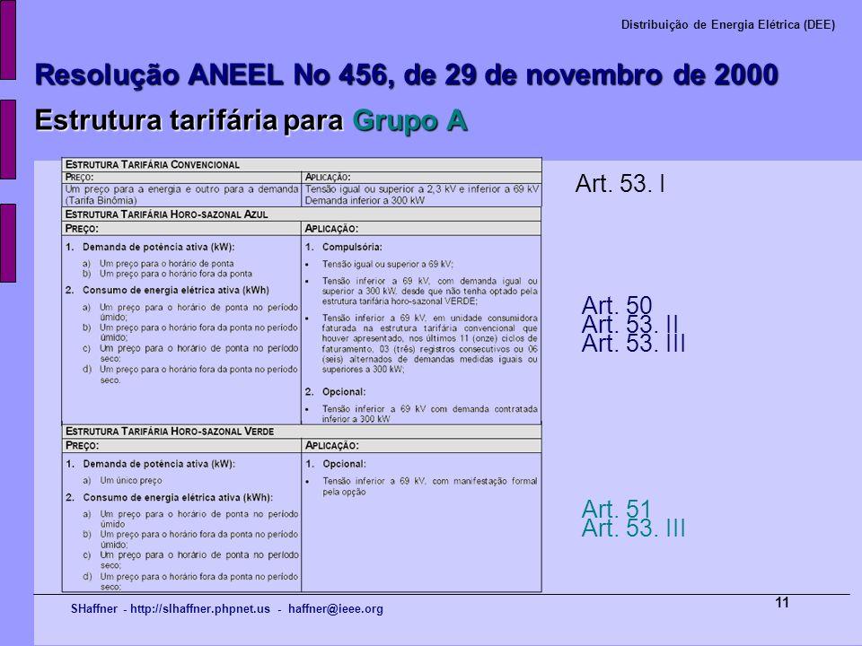 SHaffner - http://slhaffner.phpnet.us - haffner@ieee.org Distribuição de Energia Elétrica (DEE) 11 Resolução ANEEL No 456, de 29 de novembro de 2000 E