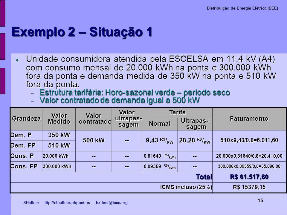 SHaffner - http://slhaffner.phpnet.us - haffner@ieee.org Distribuição de Energia Elétrica (DEE) 15 Exemplo 2 – Situação 1 Unidade consumidora atendida