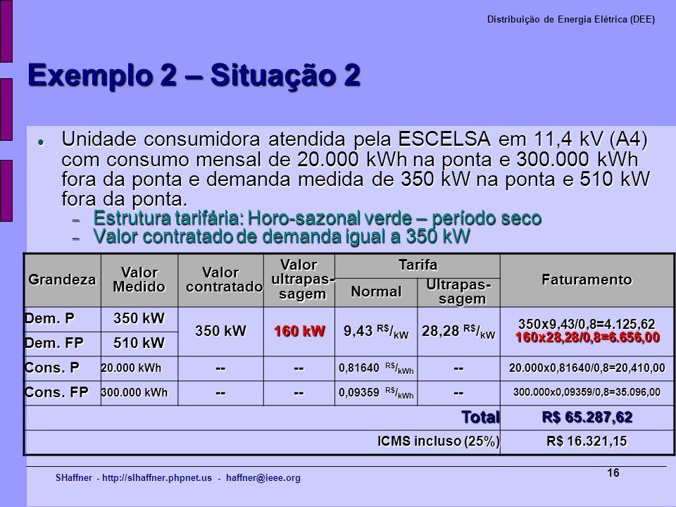 SHaffner - http://slhaffner.phpnet.us - haffner@ieee.org Distribuição de Energia Elétrica (DEE) 16 Exemplo 2 – Situação 2 Unidade consumidora atendida