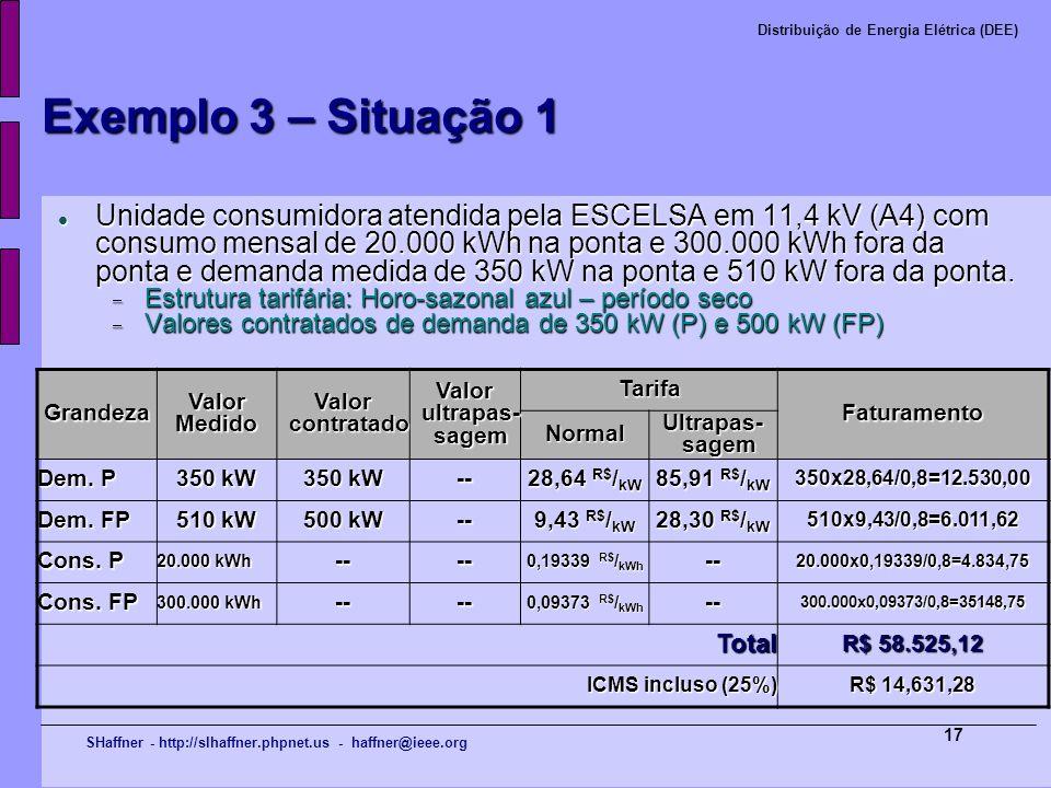 SHaffner - http://slhaffner.phpnet.us - haffner@ieee.org Distribuição de Energia Elétrica (DEE) 17 Exemplo 3 – Situação 1 Unidade consumidora atendida