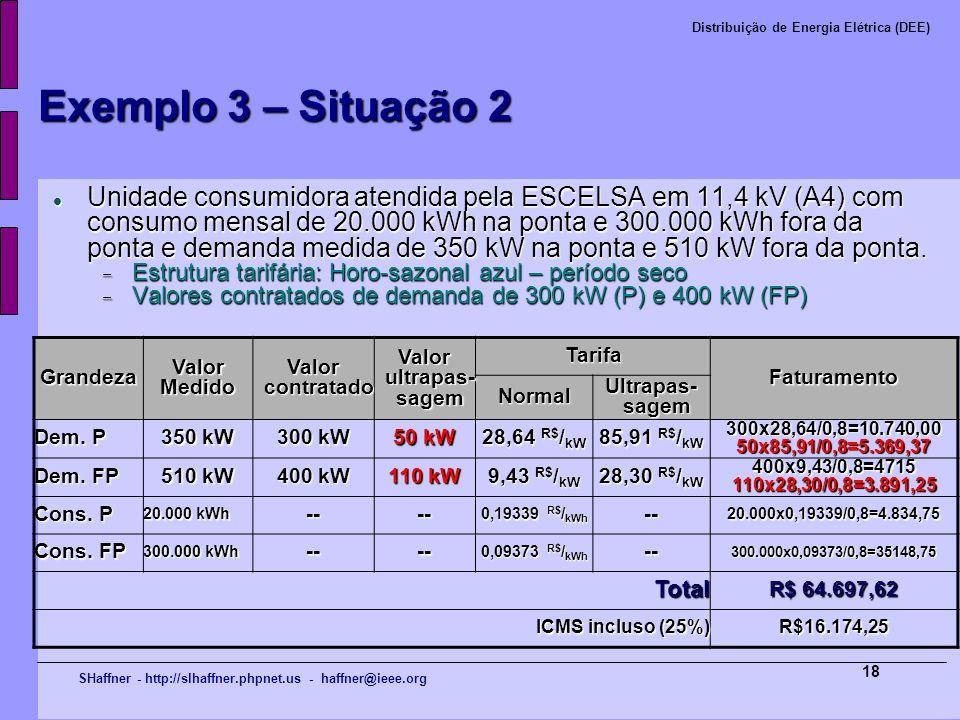 SHaffner - http://slhaffner.phpnet.us - haffner@ieee.org Distribuição de Energia Elétrica (DEE) 18 Exemplo 3 – Situação 2 Unidade consumidora atendida
