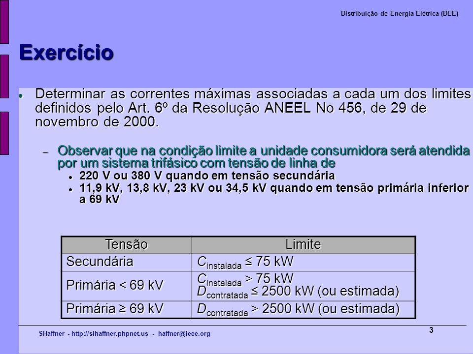 SHaffner - http://slhaffner.phpnet.us - haffner@ieee.org Distribuição de Energia Elétrica (DEE) 3 Exercício Determinar as correntes máximas associadas