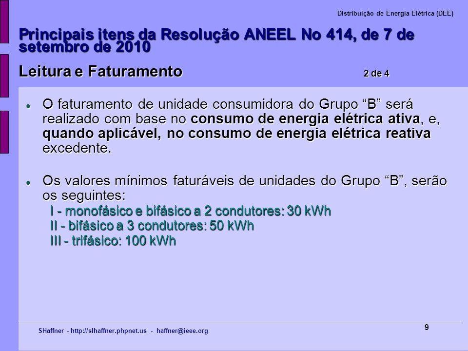 SHaffner - http://slhaffner.phpnet.us - haffner@ieee.org Distribuição de Energia Elétrica (DEE) 9 Principais itens da Resolução ANEEL No 414, de 7 de