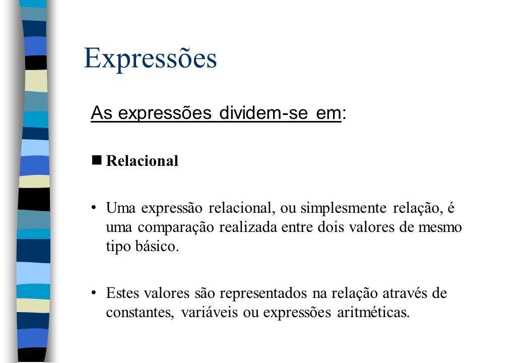 Expressões As expressões dividem-se em: nRelacional Uma expressão relacional, ou simplesmente relação, é uma comparação realizada entre dois valores d