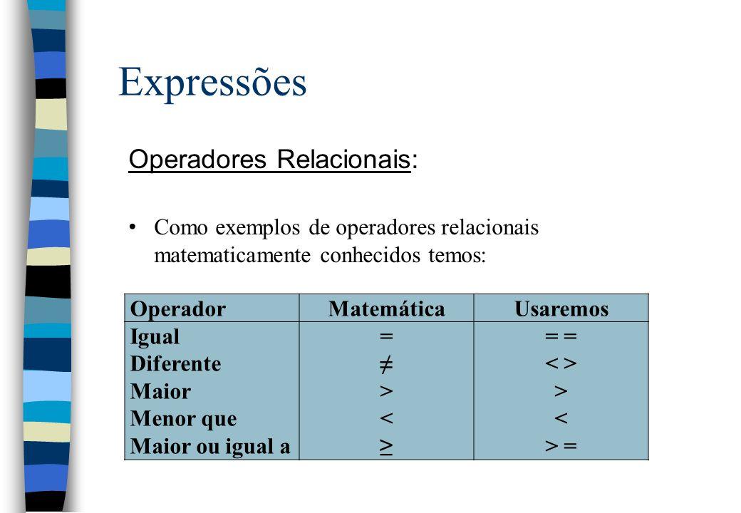 Expressões Operadores Relacionais: Como exemplos de operadores relacionais matematicamente conhecidos temos: OperadorMatemáticaUsaremos Igual Diferent