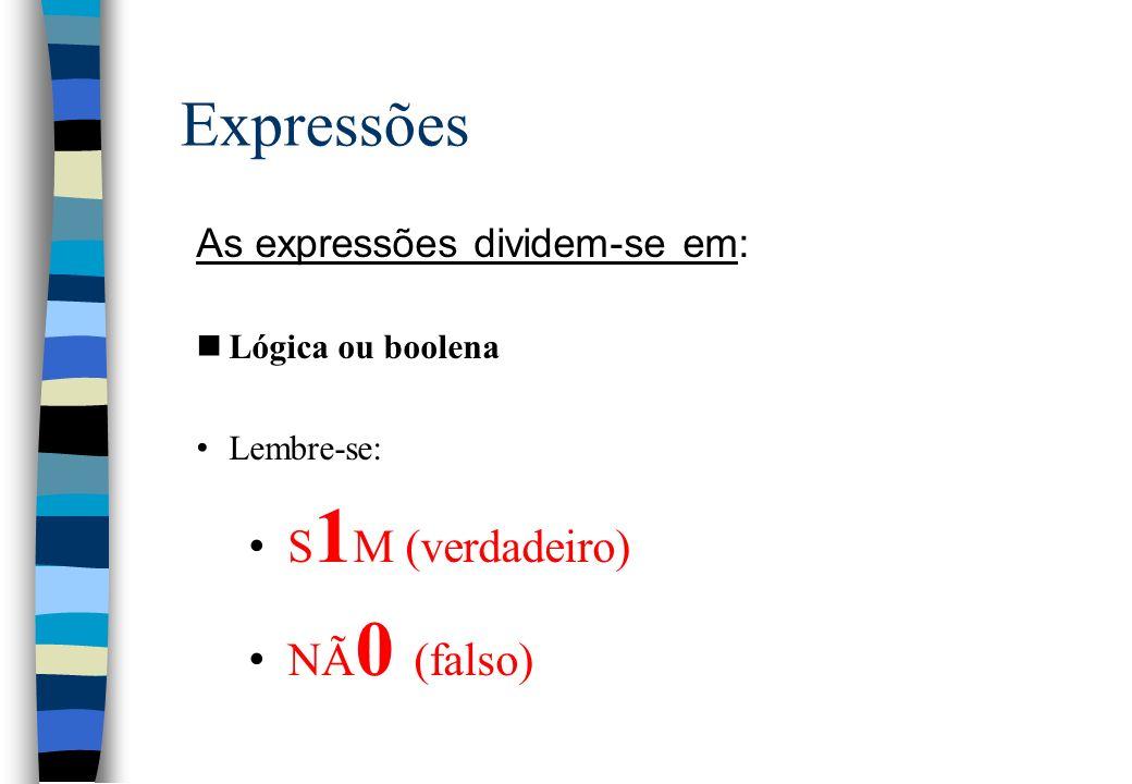 Expressões As expressões dividem-se em: nLógica ou boolena Lembre-se: S 1 M (verdadeiro) NÃ 0 (falso)