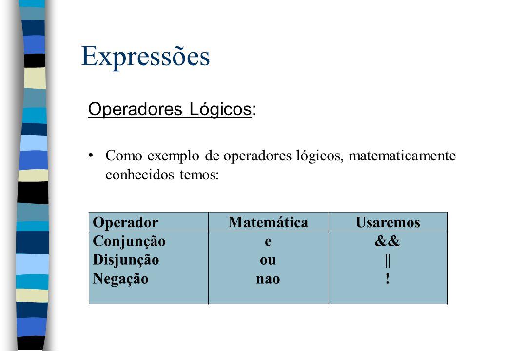 Expressões Operadores Lógicos: Como exemplo de operadores lógicos, matematicamente conhecidos temos: OperadorMatemáticaUsaremos Conjunção Disjunção Ne