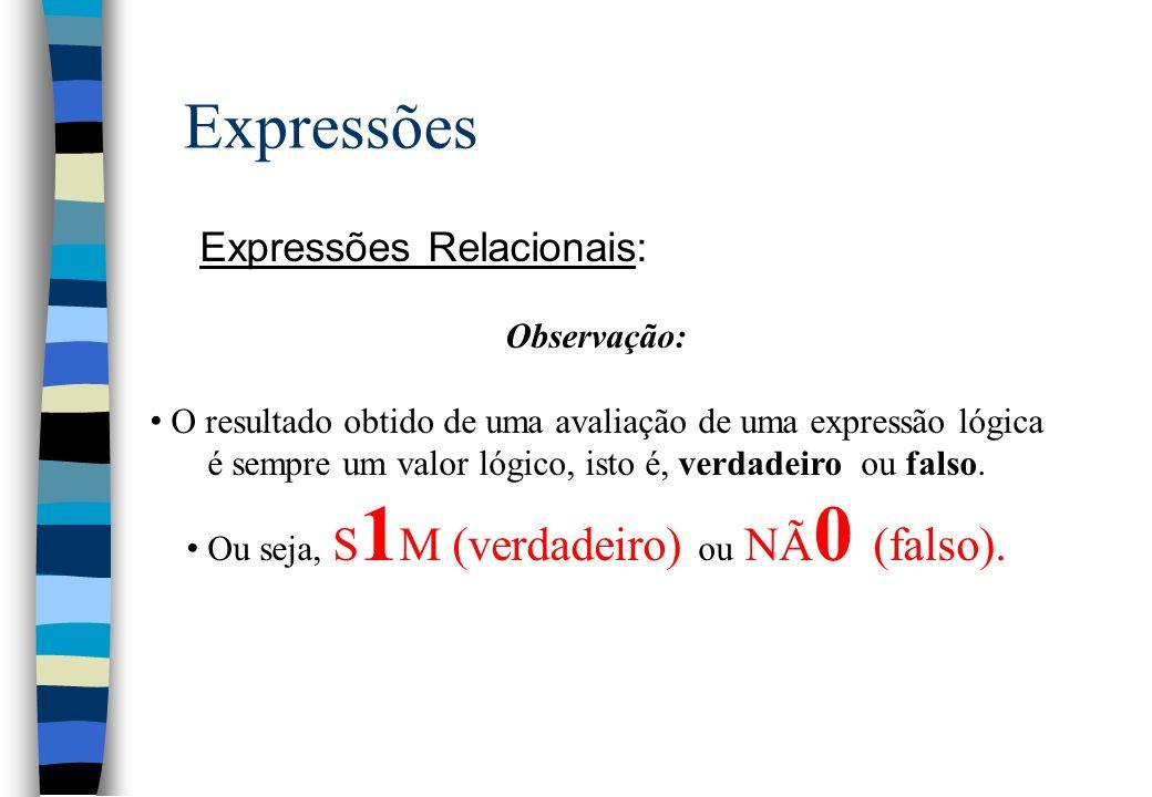 Expressões Expressões Relacionais: Observação: O resultado obtido de uma avaliação de uma expressão lógica é sempre um valor lógico, isto é, verdadeir
