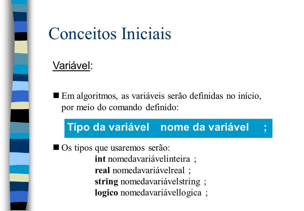 Conceitos Iniciais Variável: nEm algoritmos, as variáveis serão definidas no início, por meio do comando definido: nOs tipos que usaremos serão: int n