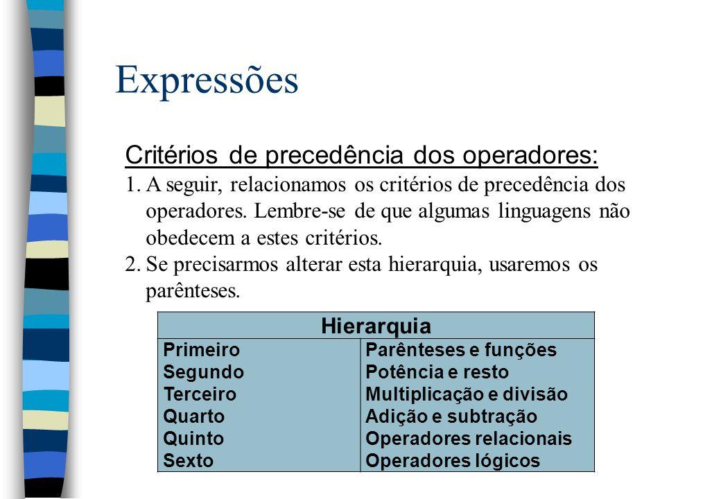 Expressões Critérios de precedência dos operadores: 1.A seguir, relacionamos os critérios de precedência dos operadores. Lembre-se de que algumas ling
