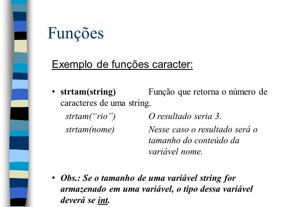 Funções Exemplo de funções caracter: strtam(string)Função que retorna o número de caracteres de uma string. strtam(rio)O resultado seria 3. strtam(nom